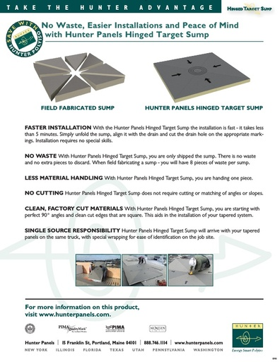 8x8 Hinged Target™ Sump Advantage sheet - Comparison with Field Fabrication Cuts