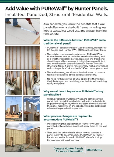 PUReWall Ad and Fact Sheet for Panelizers