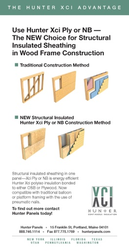 Structural Insulated Sheathing in Wood Frame Construction Ad