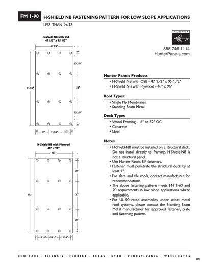 "FM I-90: Fastening Pattern for Low Slope Applications 16"" or 32"" OC"