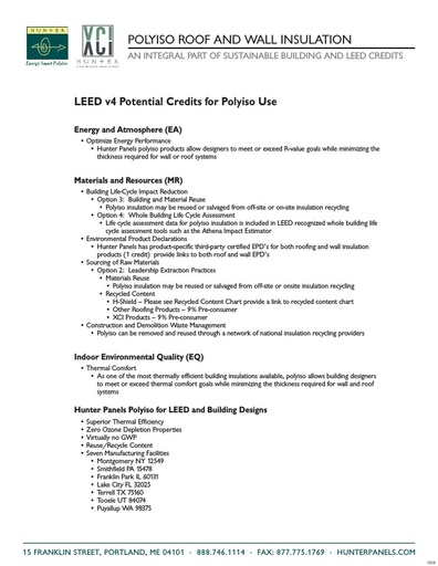 Hunter LEED Summary Sheet
