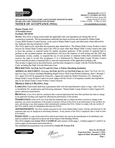 Miami-Dade Notice of Acceptance (NOA)